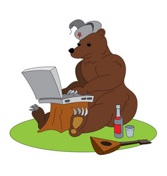 Russian hacker - brown bear with laptop vector