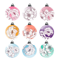 set of watercolor christmas balls with flowers vector image