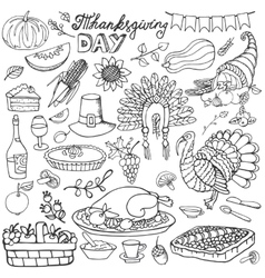 Thanksgiving day doodle iconsLinear set vector image
