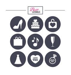 wedding engagement icons cake gift box vector image