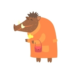 Wild boar dressed as old lady with coat and purse vector