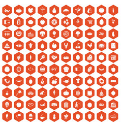 100 natural products icons hexagon orange vector