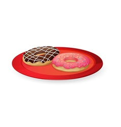 Donuts in red dish vector