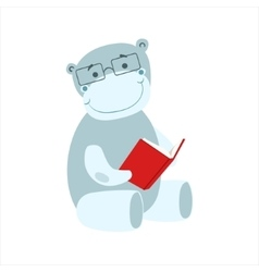 Hippo smiling bookworm zoo character wearing vector