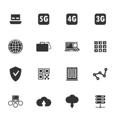 Hosting provider icons set vector