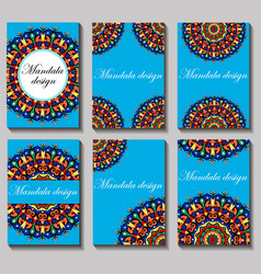 Vintage visiting card set floral mandala pattern vector