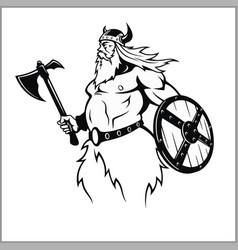 Viking with an axe preparing for battle vector