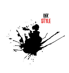 Black blot on white background in ink style vector