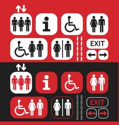 Black white and red public access icons set vector
