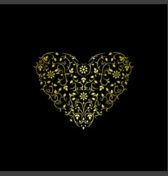Luxury ornate heart floral gold design vector