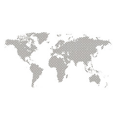 pixel map of world dotted world map halftone vector image