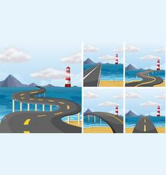 Five scenes of road across the ocean vector