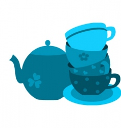 tea pot with cup set vector image