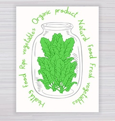 Hand drawn poster with jar full of spinach with vector