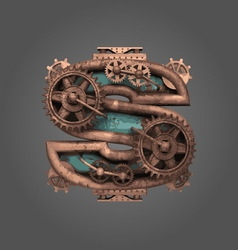 s rusted letter with gears vector image
