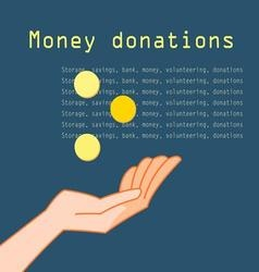 Hand with coins for charity on a dark background vector