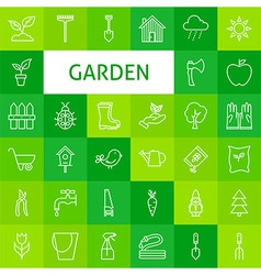Line art garden and flowers icons set vector