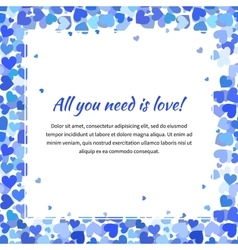 Cute template with many blue hearts square vector