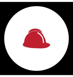 Red fire brigade helmet simple isolated icon eps10 vector