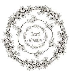 black floral wreaths flower design vector image vector image