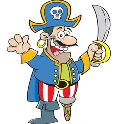 Cartoon pirate holding a sword vector