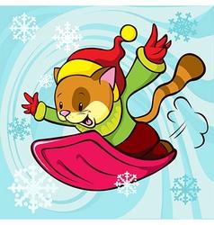 Cat cartoon bobsledding vector