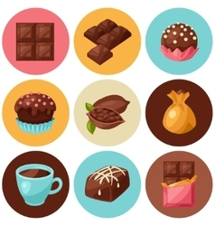Chocolate set of various tasty sweets and candies vector image vector image