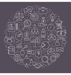 Collection of thin line bussines icon vector image vector image
