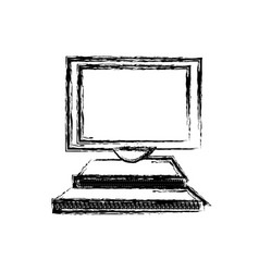 Desktop computer screen monitor equipment icon vector