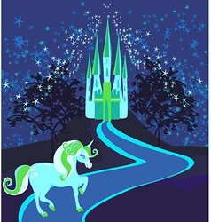 Fairytale landscape with magic castle and unicorn vector