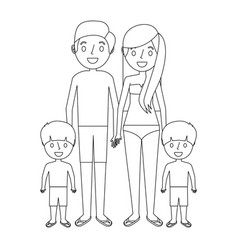 Familiy wearing swimsuits in the vacations vector
