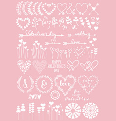 Floral heart designs set vector