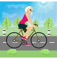 friendly young girl riding bicycle happy vector image vector image
