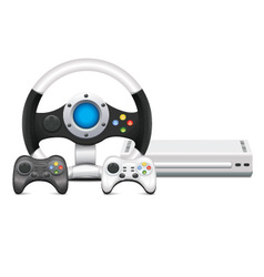 Game console with steering wheel and gamepad vector
