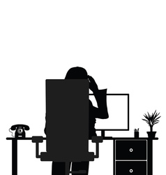 Girl with computer in chair vector