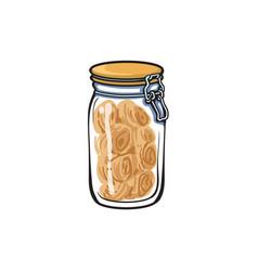Glass jar with swing top lid sketch vector