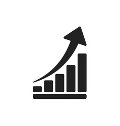 Growth chart icon grow diagram flat business vector