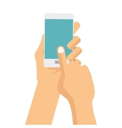 Hands with cellphone icon vector