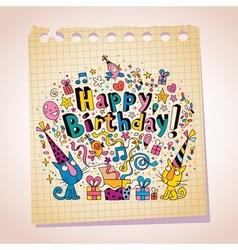 Happy Birthday cute kittens note paper cartoon vector image vector image