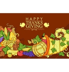 Happy Thanksgiving holiday doodle vector image vector image