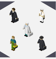 isometric person set of plumber investor seaman vector image vector image