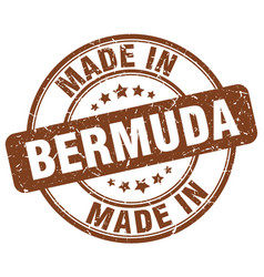 Made in bermuda brown grunge round stamp vector