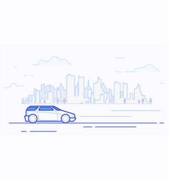Modern car in the city vector