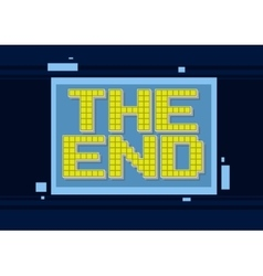 Pixel computer game yellow text the end vector