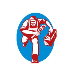 Plumber with monkey wrench toolbox running vector