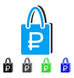 Rouble shopping flat icon vector