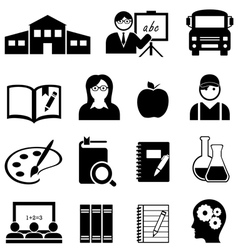 School Learning and Educaiton Icons vector image vector image