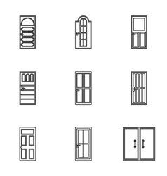 Security doors icons set outline style vector
