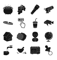Toy magic weapons and other web icon in black vector