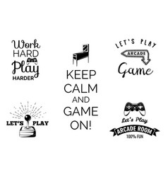 Video games labels set arcade game room vector